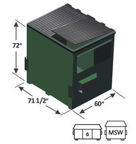 6 yard high top front load dumpster diagram