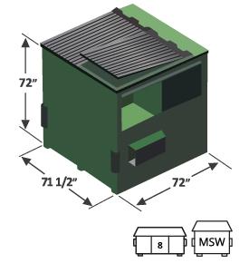 8 yard high top front load dumpster diagram