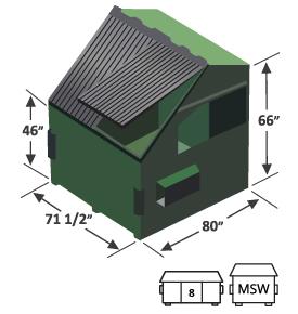 8 yard slant top front load dumpster diagram